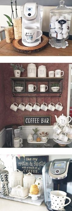 Love these coffee nook ideas - super cute coffee bar set up ideas for my kitchen DIY Coffee Bars and Blends Coffee Nook, Coffee Bar Home, Coffee Area, Coffe Bar In Kitchen, Wine And Coffee Bar, Coffee Bar Design, Coffee Life, Kitchen Bars, Kitchen Pantry