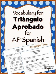 AP Spanish Vocabulary for Triángulo aprobado. Get one unit FREE with this… High School Spanish, Ap Spanish, Spanish Culture, Learn Spanish, Spanish Activities, Vocabulary Activities, Group Activities, Spanish Lesson Plans, Spanish Lessons