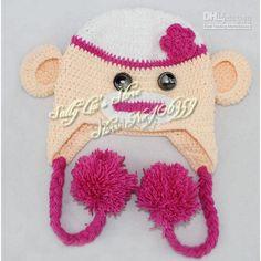 Girl Sock Monkey Crochet Hat Pattern Handmade Baby Monkey Beanie Crochet  Knit Animal Baby Hat 5pcs 98417f371d49
