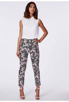 a8f70e02db Anneka Floral Check Trousers Black  MissguidedAW14 Slacks For Women