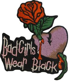 """[Single Count] Custom and Unique (3 1/2"""" by 2 1/2"""" Inches) Bad Girls Wear Black & Rose Iron On Embroidered Applique Patch {Pink, Black, Red & Green Colors} mySimple Products http://www.amazon.com/dp/B0161UHPV4/ref=cm_sw_r_pi_dp_WpQMwb0DA5Z63"""