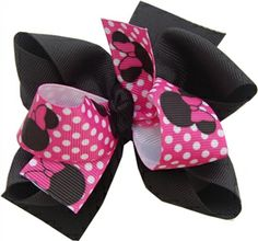 Pink/Black Minnie Mouse Hair Bow
