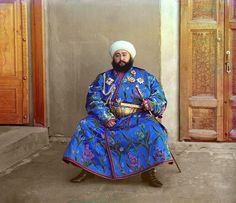The Emir of Bukhara in a 1911 color photograph by Sergei Mikhailovich Prokudin-Gorskii.  (wiki)