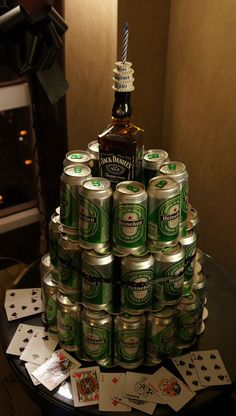 Tiered Heineken Beer Cake. For my honey and his groomsmen. Our jack Daniel bottle will have our picture on it