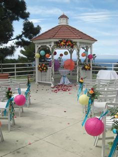 I'm at a loss as to how to decorate the aisle in our ceremony space. An aisle runner is included in our ceremony package, so I won't be going that way Balloon Lanterns, Love Balloon, Paper Lanterns, Balloons, Gazebo Wedding Decorations, Prom Decor, Aisle Decorations, Beach Wedding Aisles, Our Wedding