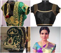 Golden Thread Work Bridal Jacket Designs for pattu sarees