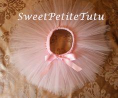 Very Light Pink Tutu with bow Pale pink tutu by SweetPetiteTutu