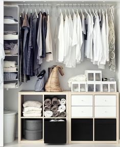 IKEA Kallax shelves and shelving units are the best canvas for creating! Kallax shelves are so universal that you can get almost anything from them . Ikea Closet Hack, Ikea Hack Bedroom, Closet Hacks, Closet Bedroom, Closet Organization, Organization Ideas, Closet Ideas, Ikea Wardrobe Hack, Closet Space