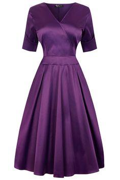 Fialové saténové šaty Lady V London Estella
