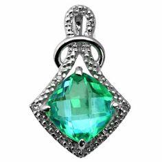 Cushion Cut Caribbean Quartz Diamond White Gold Pendant Necklace Available Exclusively at Gemologica.com