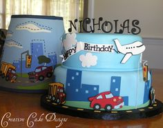 Car's Trucks and Plane Birthday Cake
