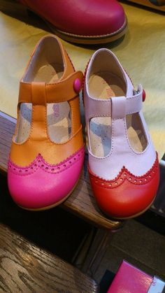 Orange and neon pink shoe