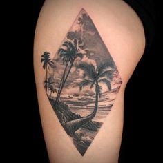 Naturescape Tattoo by Teej Poole Ink Master Seasons, Tatoos, Palm, Nice, Beach, Tattoo, The Beach, Beaches, Nice France