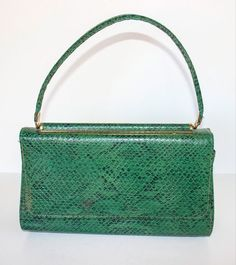 TRUE VINTAGE Green REPTILE Snake Embossed Small FLAP PURSE Retro HAND BAG   #Unbranded #ShoulderBag