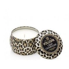 Revitalize your indoor with #VoluspaTuberosa Crisp Mini Champagne Decorative Tin #Candle. Made from purely natural extracts and crisp champagne with notes of sparkling brut champagne mingled with hints of vanilla and barrel oak, this candle in decorated metal container creates a lush romantic new fragrance all around.
