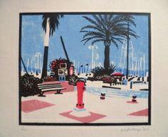 Cavalaire Linogravure Juliette, Provence, Printmaking, Artwork, Painting, Urban Landscape, Lino Prints, Prints, Landscapes