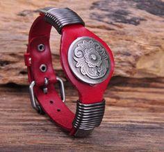 Vintage Floral Studded Red Leather Bracelet