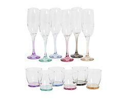 Set di 6 bicchieri acqua e 6 flutes in vetro fondo colorato Pisa