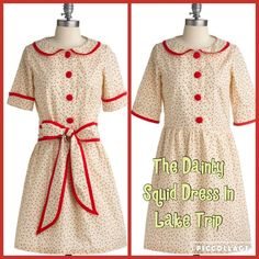 The Dainty Squid Dress in Lake Trip by ModCloth Named after fashion blogger The Dainty Squid, this shirtwaist dress was designed by UK Gonsalves & Hall. This charming Peter Pan collar pale yellow floral frock comes with detachable sash at the waist. It is partially lined at skirt. Measurements (inches): 17.5 bust and 16 waist. I bought brand new and only tried on. ModCloth Dresses