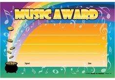 "RAINBOW MUSIC AWARD CERTIFICATE - 8½"" x 5½"" Award Certificates, Choir, Music Awards, Rainbow, Rain Bow, Greek Chorus, Rainbows, Choirs"
