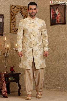 Buy Men's Sherwani-Woven silk Pakistani Sherwani For wedding 2021-Men's Wear With Zari, Embroidery Work In USA, UK, Canada, Australia Visit Now : www.NameerabyFarooq.com or Call / Whatsapp : +1 732-910-5427 Work In Usa, Mens Sherwani, Off White Color, Cotton Silk, Dress Making, Party Wear, Pakistani, Wedding Events, Ready To Wear