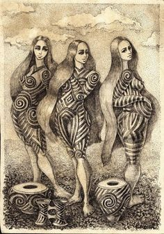 Artistic rendering of Cucuteni-Trypillian women
