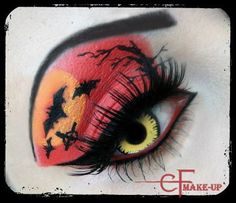 Halloween eye makeup red orange and black