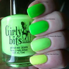 Comparison swatches of Girly Bits neon green, yellow and lime neons - Swatches and Review | Pointless Cafe