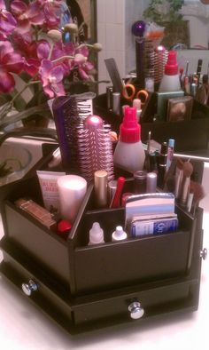 Makeup organizer purchased at Hobby Lobby 1/2 price for $20. It's wood with 12 compartments and 6 small drawers. It comes in black or white. Awesome.