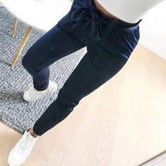 Summer Fashion Women's Striped Harem High Waist Elastic Bow Tie Drawstring Ladies Casual Trousers With Pockets. Harem Pants Pattern, Harem Pants Men, Slim Pants, Trousers, Capri Pants, Women Pants, Suede Pants, Models, Fashion Pants