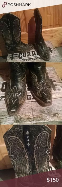 Corral Vintage Western Cowboy Boots Black, Gold, and Silver wings and cross cowboy boots. Great condition, natural distressing. Super cute, comfortable boot. Corral Shoes Heeled Boots