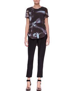 Printed Split-Hem T-Shirt and Slim Draped Pocket Trousers by 3.1 Phillip Lim at Neiman Marcus.