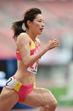 NIIGATA, JAPAN - JUNE Sayaka Aoki of Japan competes in the Women's 400 metres qualification during the Japan Athletics National Championships at Denka Big Swan Stadium on June 2015 in Niigata, Japan. (Photo by Atsushi Tomura/Getty Images) Feminist Men, Long Jump, Beautiful Athletes, Sports Uniforms, Action Poses, Track And Field, Athletic Women, Female Athletes, Sport Girl