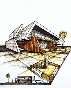ترین مجله معماری ( projects to try architecture magazines Architecture Concept Drawings, Architecture Sketchbook, Architecture Magazines, Architecture Design, Interior Design Sketches, House Sketch Design, Building Design, Architectural Sketches, Followers Instagram