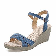 MayMeenth Women's Buckle Open Toe Kitten Heels Denim Solid Wedges-Sandals, Blue, 34  https://buttermintboutique.com/product/maymeenth-womens-buckle-open-toe-kitten-heels-denim-solid-wedges-sandals-blue-34-2/