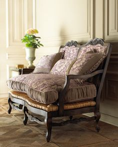 "French loveseat! Love the rush seats and fabric! ""Zoe"" Settee"