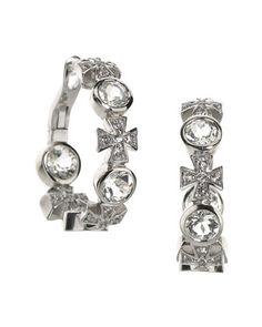 Topaz/Sapphire Maltese Cross Hoop Earrings, White by Elizabeth Showers at Neiman Marcus Last Call.