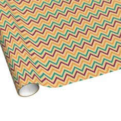 Yellow, Green and Burgundy Chevron Wrapping Paper