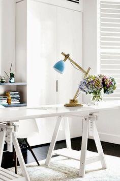 workspace / desk styling / <3 the lamp