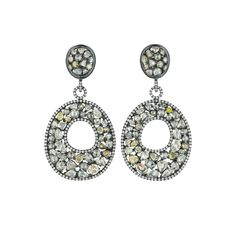 PHILLIPS : NY060213, , A Pair of Colored Diamond Ear PendantsA Pair of Colored Diamond Ear Pendants Each suspending a vari-cut colored diamond plaque, within a pavé-set diamond surround and inner ring, from a pavé-set diamond circular link, to the vari-cut colored diamond cluster surmount, mounted in 18K blackened gold, length 2 1/4 inches.  Estimate $15,000 - 18,000   SOLD FOR $17,500