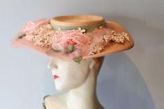Vintage 1950s Jan Leslie Big Brim Straw Hat ~ Vintage 50s Portrait Hat With  Flowers and Wide Brim 1f496fb86ffd