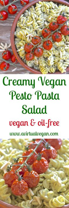 A simple but incredibly delicious, super creamy Vegan Pesto Pasta Salad topped with juicy, sweet, oven roasted tomatoes. It has just 5 ingredients & is ready in the time the tomatoes take to roast! via /avirtualvegan/ Vegan Dinner Recipes, Delicious Vegan Recipes, Lunch Recipes, Whole Food Recipes, Vegetarian Recipes, Healthy Recipes, Free Recipes, Salad Recipes, Tasty