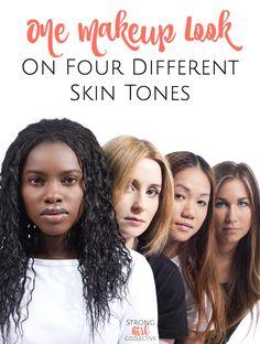 One makeup look on four different skin tones: Fair, Light, Medium & Deep Skin tones. Brown eyeshadow and dark lips on Warm & Cool Skin tones.
