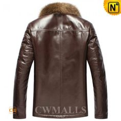 CWMALLS Brown Shearling Jacket Fur Trim CW855282