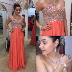 A-Line Sweetheart Prom Dresses,Beading Chiffon Evening Dresses #SIMIBridal #promdresses