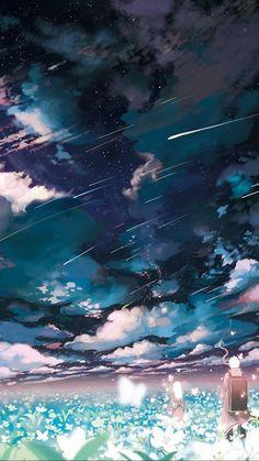 Anime Mushishi Cloud Flower Landscape Shooting Star Night Ginko Mushishi
