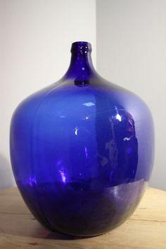 19TH CENTURY ANTIQUE BRISTOL BLUE GLASS CARBOY