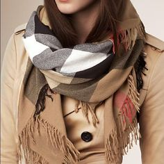 "Burberry Scarf Beautiful silky blanket scarf! NOT authentic but exactly like the real deal! Measures 48""X 48"". I got so many compliments when I wore this. **CHEAPER ON M E R CARI Burberry Accessories Scarves & Wraps"