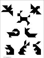 Printable tangram puzzle worksheets - fish, bird and animal shapes