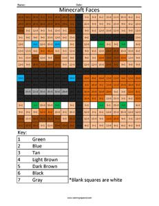 Minecraft Faces- Practice Division color the squares